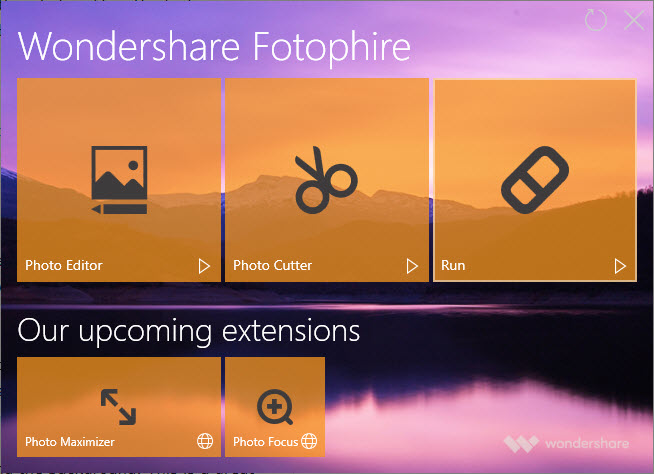 Wondershare Fotophire User Interface